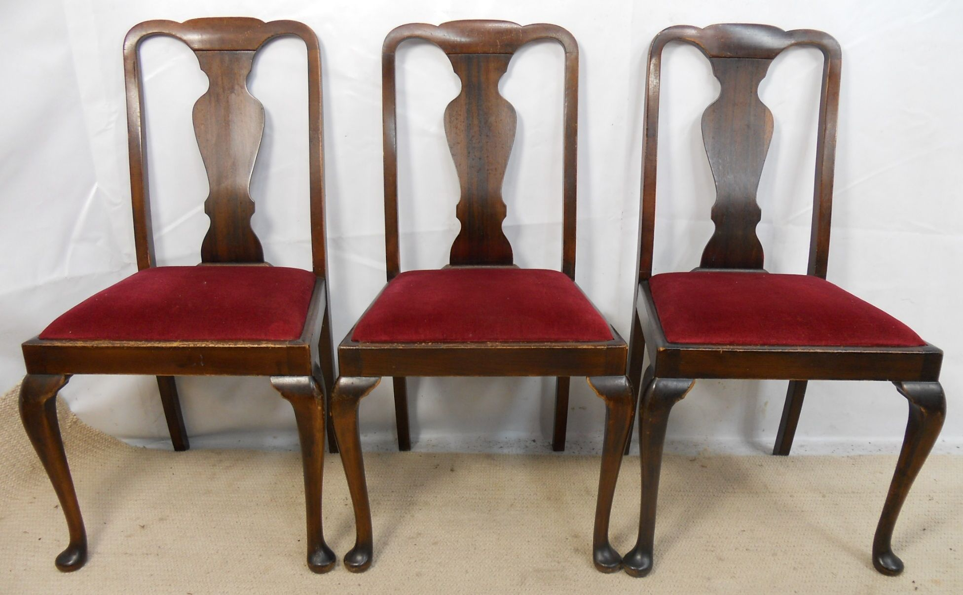 of Four Walnut Highback Queen Anne Style Dining Chairs SOLD